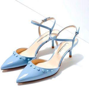 Zara Studded baby blue Kitten Heels  9